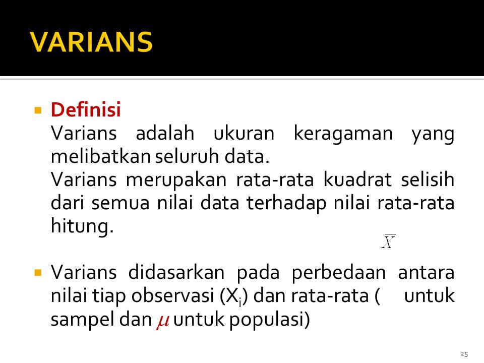  Definisi Varians adalah ukuran keragaman yang melibatkan seluruh data. Varians merupakan rata-rata kuadrat selisih dari semua nilai data terhadap ni