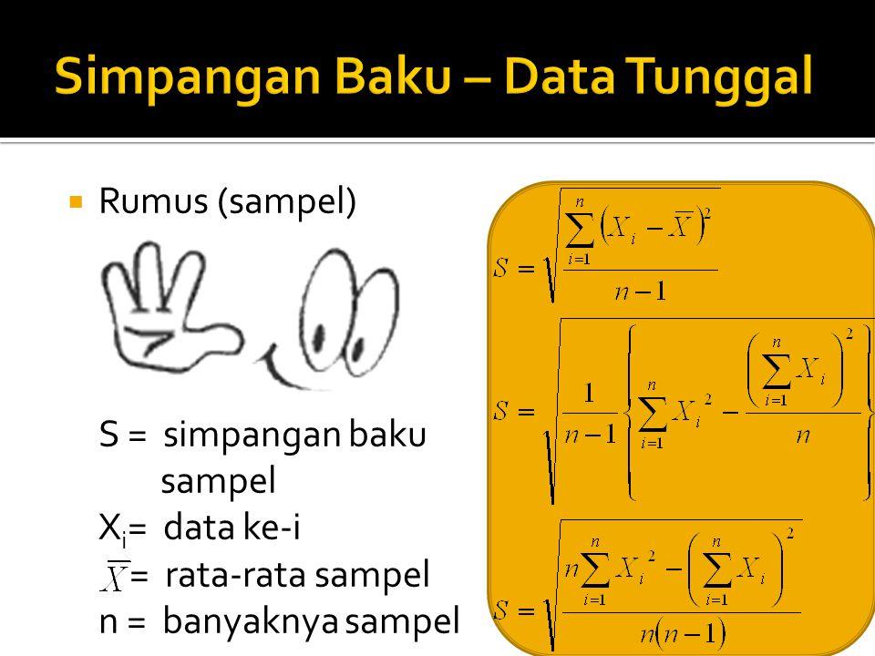 30  Rumus (sampel) S = simpangan baku sampel X i = data ke-i = rata-rata sampel n = banyaknya sampel