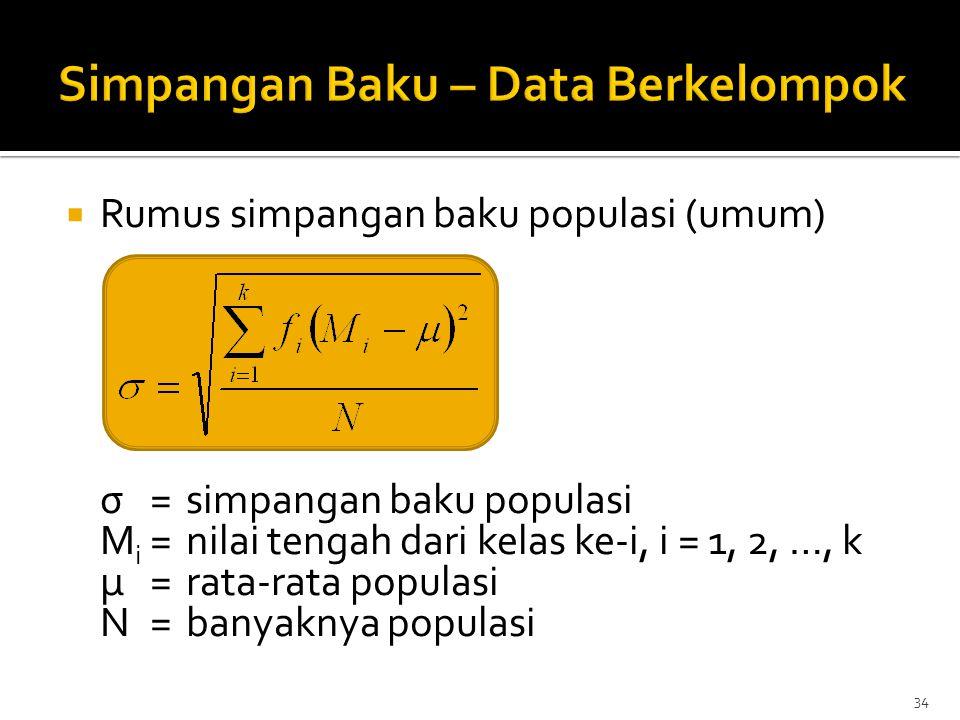  Rumus simpangan baku populasi (umum) σ=simpangan baku populasi M i =nilai tengah dari kelas ke-i, i = 1, 2, …, k μ=rata-rata populasi N=banyaknya po