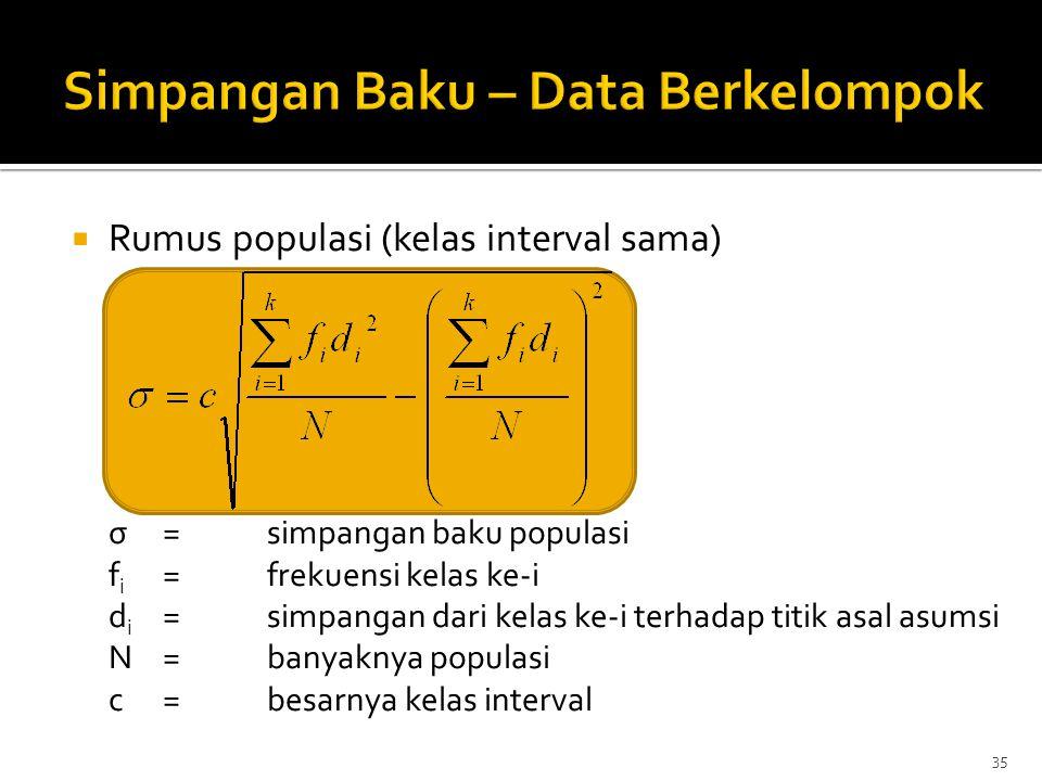  Rumus populasi (kelas interval sama) σ=simpangan baku populasi f i =frekuensi kelas ke-i d i =simpangan dari kelas ke-i terhadap titik asal asumsi N