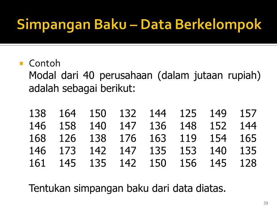  Contoh Modal dari 40 perusahaan (dalam jutaan rupiah) adalah sebagai berikut: 138 164 150 132 144 125 149 157 146 158 140 147 136 148 152 144 168 12