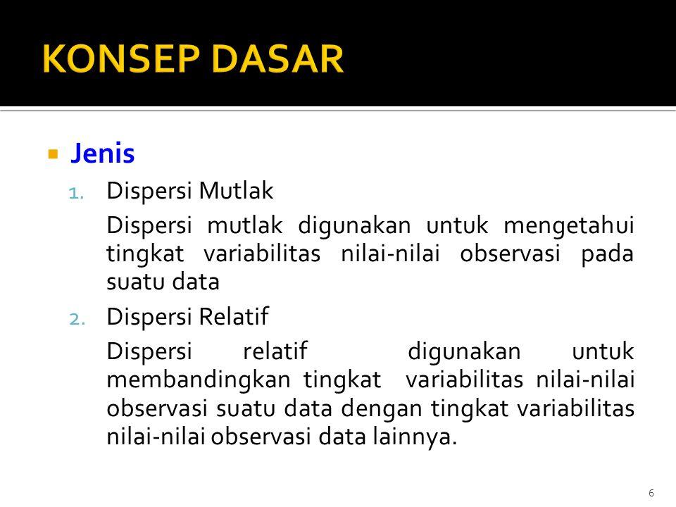  Jenis 1. Dispersi Mutlak Dispersi mutlak digunakan untuk mengetahui tingkat variabilitas nilai-nilai observasi pada suatu data 2. Dispersi Relatif D