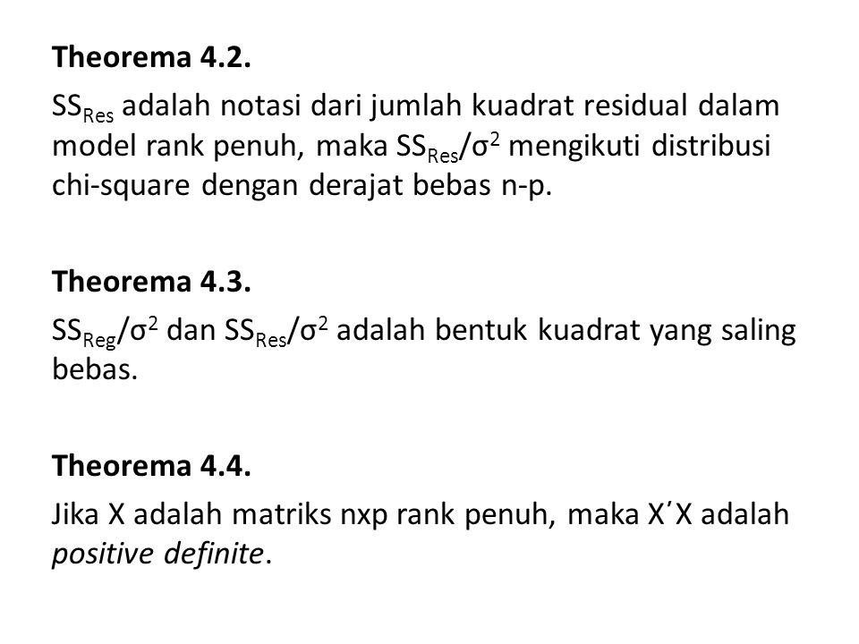 Lemma 4.1 Rank matriks X 2 (X 2 ΄X 2 ) -1 X 2 ΄ adalah p-r Lemma 4.2 Matriks X(X΄X) -1 X΄ – X 2 (X 2 ΄X 2 ) -1 X 2 ΄ adalah idempoten Lemma 4.3 Rank matriks X(X΄X) -1 X΄ – X 2 (X 2 ΄X 2 ) -1 X 2 ΄ adalah r Lemma 4.4 Rank matriks [I – X(X΄X) -1 X΄] adalah n-p