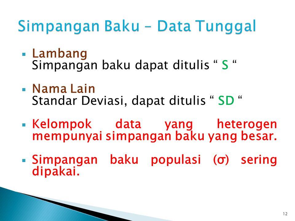 """ Lambang Simpangan baku dapat ditulis """" S """"  Nama Lain Standar Deviasi, dapat ditulis """" SD """"  Kelompok data yang heterogen mempunyai simpangan baku"""