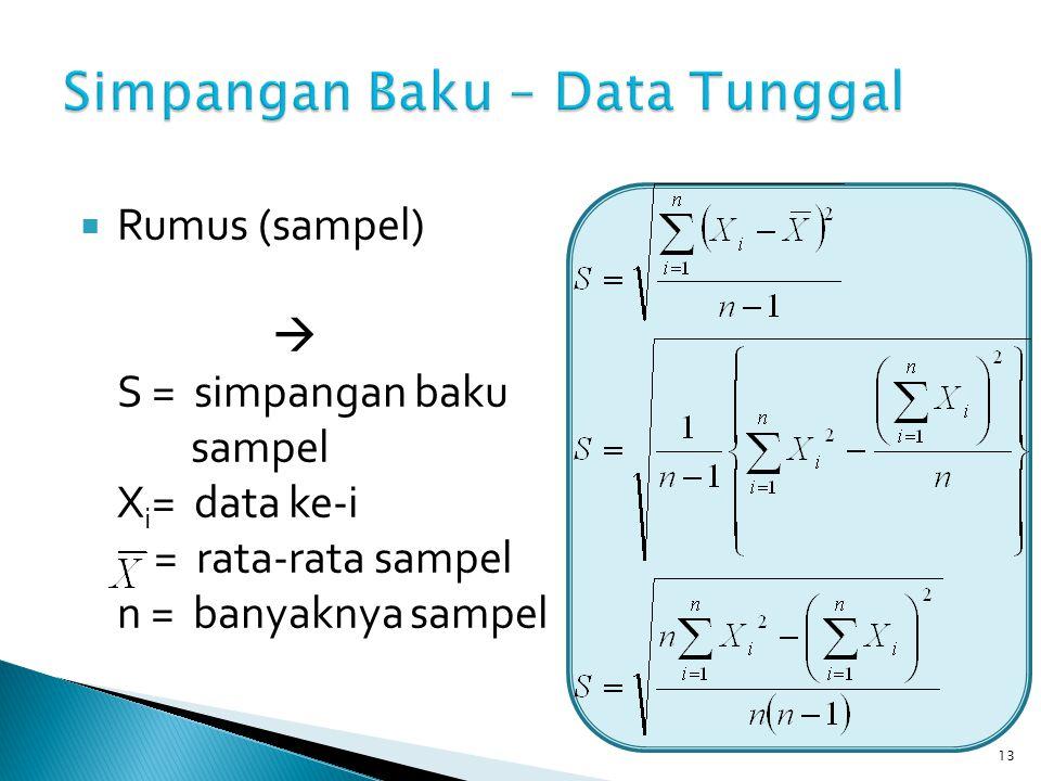 13  Rumus (sampel)  S = simpangan baku sampel X i = data ke-i = rata-rata sampel n = banyaknya sampel