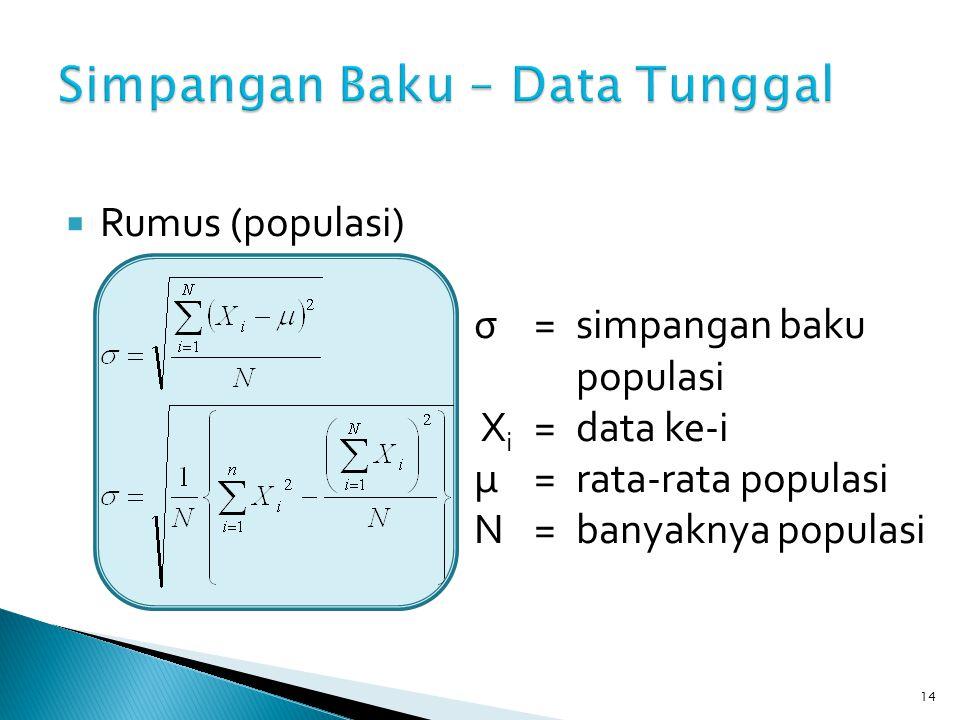 14  Rumus (populasi) σ=simpangan baku populasi X i =data ke-i μ=rata-rata populasi N=banyaknya populasi