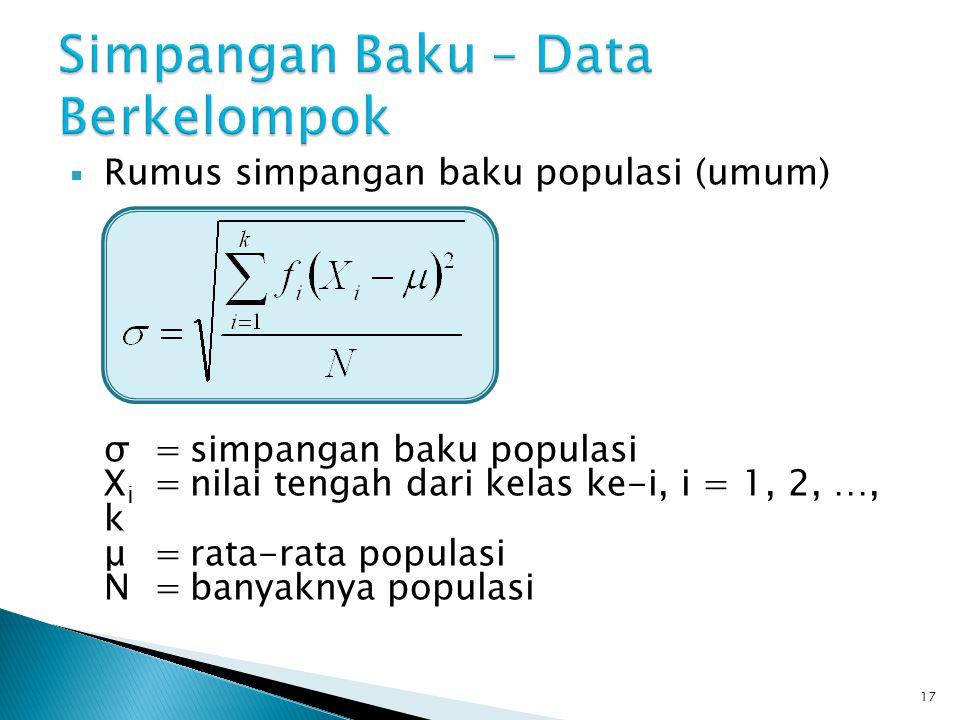  Rumus simpangan baku populasi (umum) σ=simpangan baku populasi X i =nilai tengah dari kelas ke-i, i = 1, 2, …, k μ=rata-rata populasi N=banyaknya po
