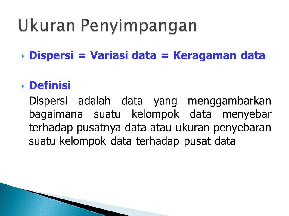  Dispersi = Variasi data = Keragaman data  Definisi Dispersi adalah data yang menggambarkan bagaimana suatu kelompok data menyebar terhadap pusatnya