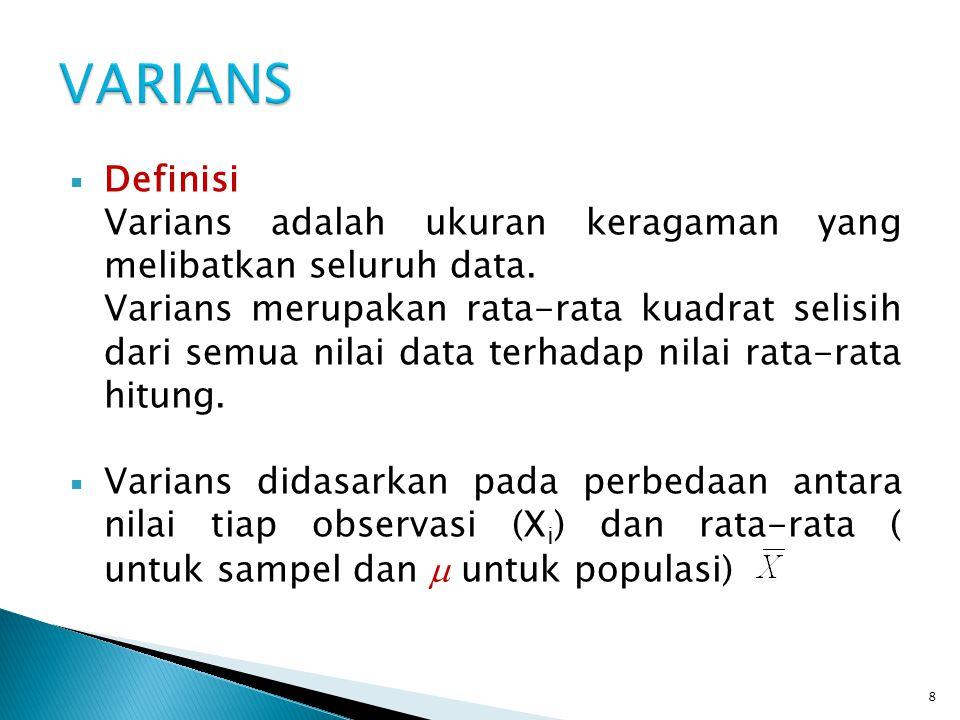  Rumus (sampel)S 2 =varians sampel X i =data ke-i =rata-rata sampel n=banyaknya sampel  Rumus (populasi)σ 2 =varians populasi X i =data ke-i μ=rata-rata populasi N=banyaknya populasi 9