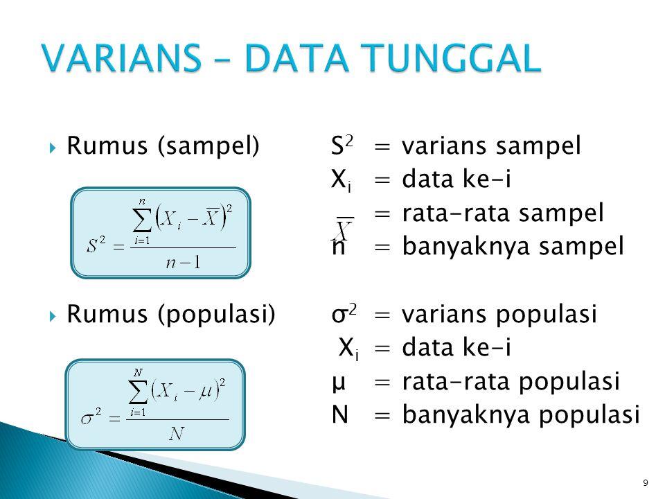  Rumus (sampel)S 2 =varians sampel X i =nilai tengah kelas ke-i f i =frekuensi kelas ke-i =rata-rata sampel  Rumus (populasi)σ 2 =varians populasi X i =nilai tengah kelas ke-i f i =frekuensi kelas ke-i μ=rata-rata populasi 10