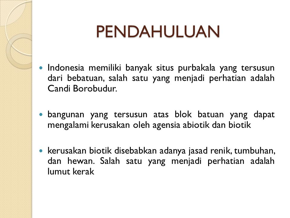 PENDAHULUAN PENDAHULUAN Indonesia memiliki banyak situs purbakala yang tersusun dari bebatuan, salah satu yang menjadi perhatian adalah Candi Borobudu
