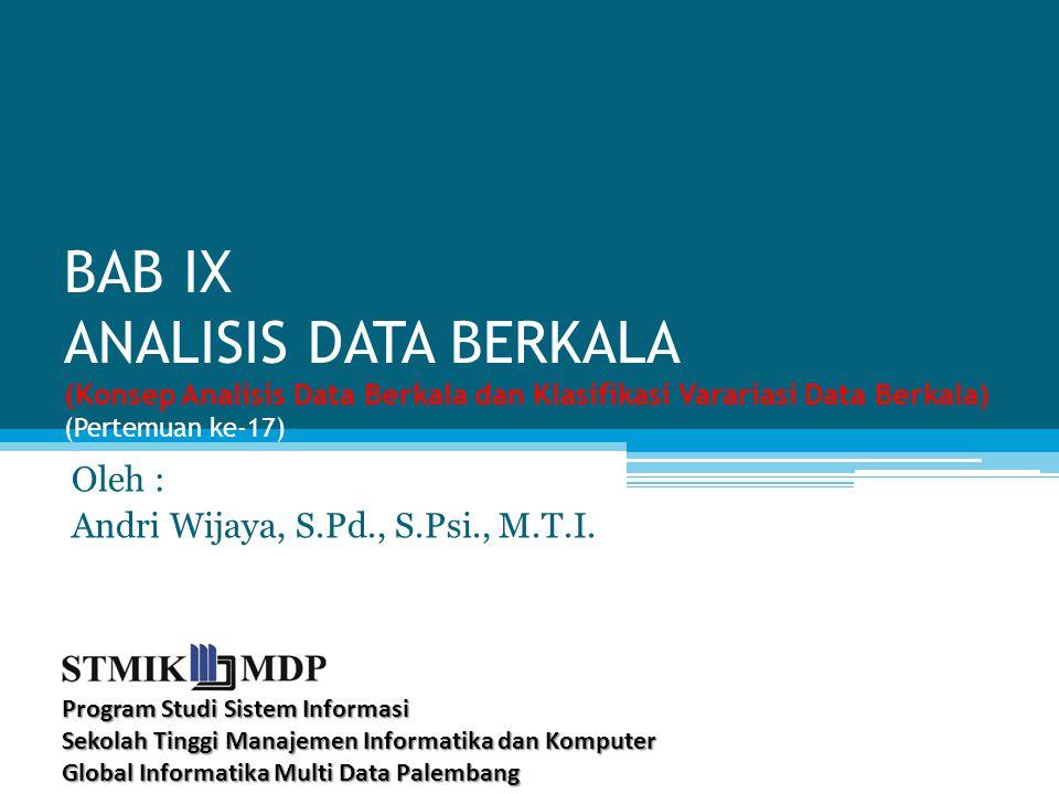 BAB IX ANALISIS DATA BERKALA (Konsep Analisis Data Berkala dan Klasifikasi Varariasi Data Berkala) (Pertemuan ke-17) Oleh : Andri Wijaya, S.Pd., S.Psi