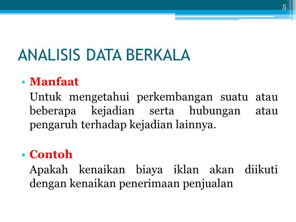 ANALISIS DATA BERKALA Manfaat Untuk mengetahui perkembangan suatu atau beberapa kejadian serta hubungan atau pengaruh terhadap kejadian lainnya. Conto