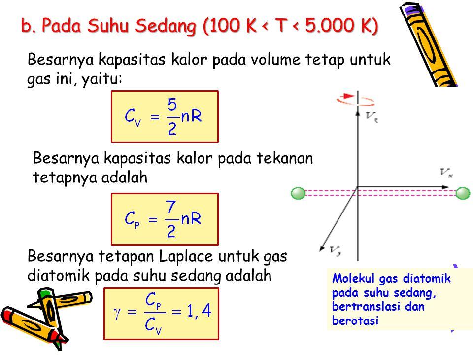 b. Pada Suhu Sedang (100 K < T < 5.000 K) Besarnya kapasitas kalor pada tekanan tetapnya adalah Besarnya kapasitas kalor pada volume tetap untuk gas i