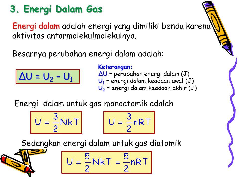 3. Energi Dalam Gas Energi dalam Energi dalam adalah energi yang dimiliki benda karena aktivitas antarmolekulmolekulnya. Besarnya perubahan energi dal
