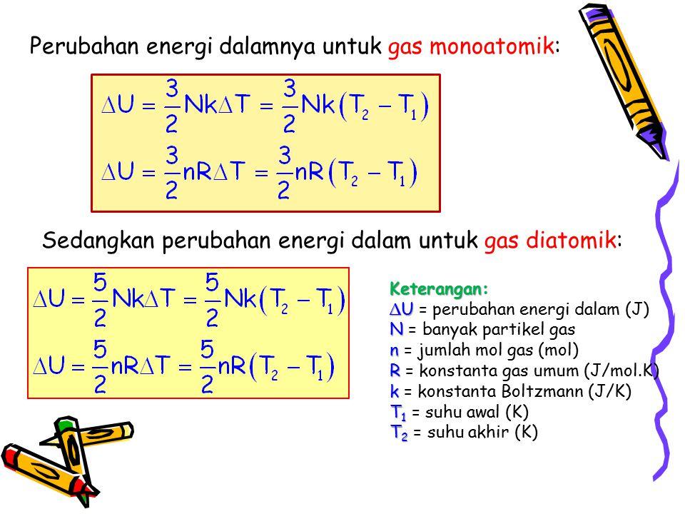 Perubahan energi dalamnya untuk gas monoatomik: Sedangkan perubahan energi dalam untuk gas diatomik: Keterangan: ∆ U ∆ U = perubahan energi dalam (J)
