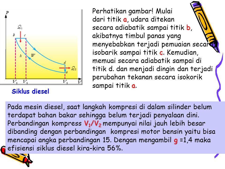 Perhatikan gambar! Mulai a dari titik a, udara ditekan b c a secara adiabatik sampai titik b, akibatnya timbul panas yang menyebabkan terjadi pemuaian