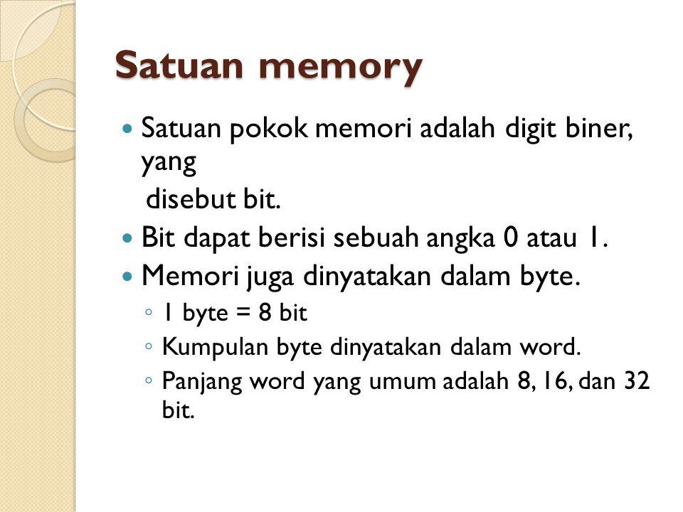 Satuan memory Satuan pokok memori adalah digit biner, yang disebut bit.