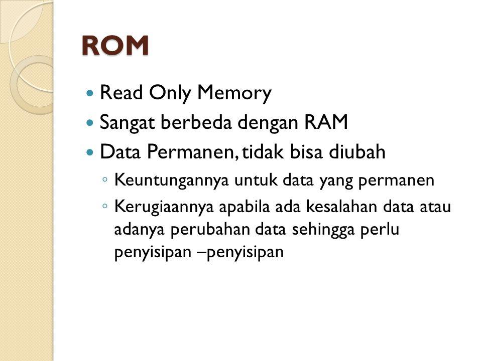 ROM Read Only Memory Sangat berbeda dengan RAM Data Permanen, tidak bisa diubah ◦ Keuntungannya untuk data yang permanen ◦ Kerugiaannya apabila ada kesalahan data atau adanya perubahan data sehingga perlu penyisipan –penyisipan