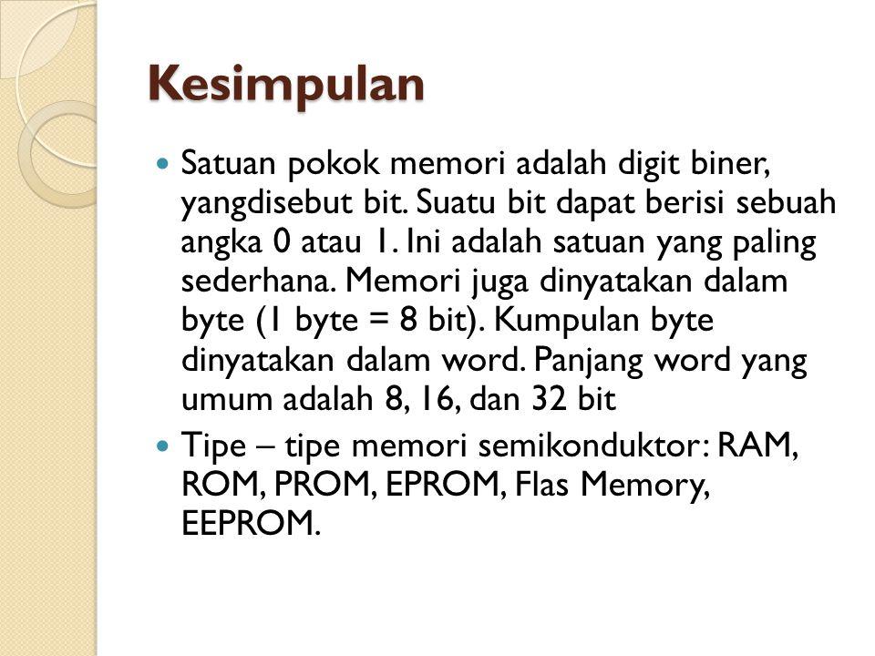 Kesimpulan Satuan pokok memori adalah digit biner, yangdisebut bit.