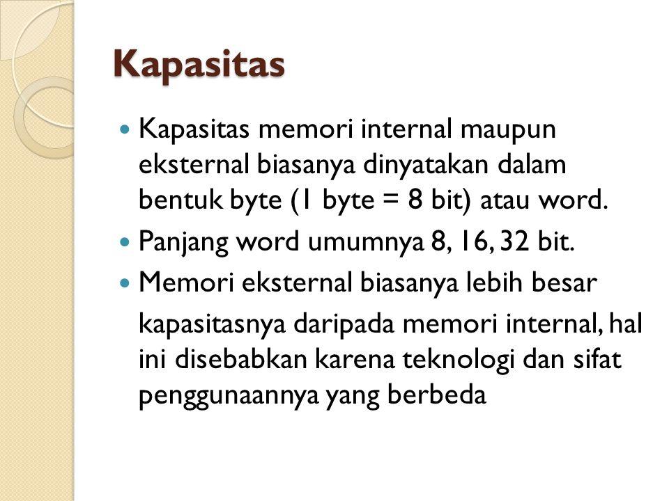 Kapasitas Kapasitas memori internal maupun eksternal biasanya dinyatakan dalam bentuk byte (1 byte = 8 bit) atau word.