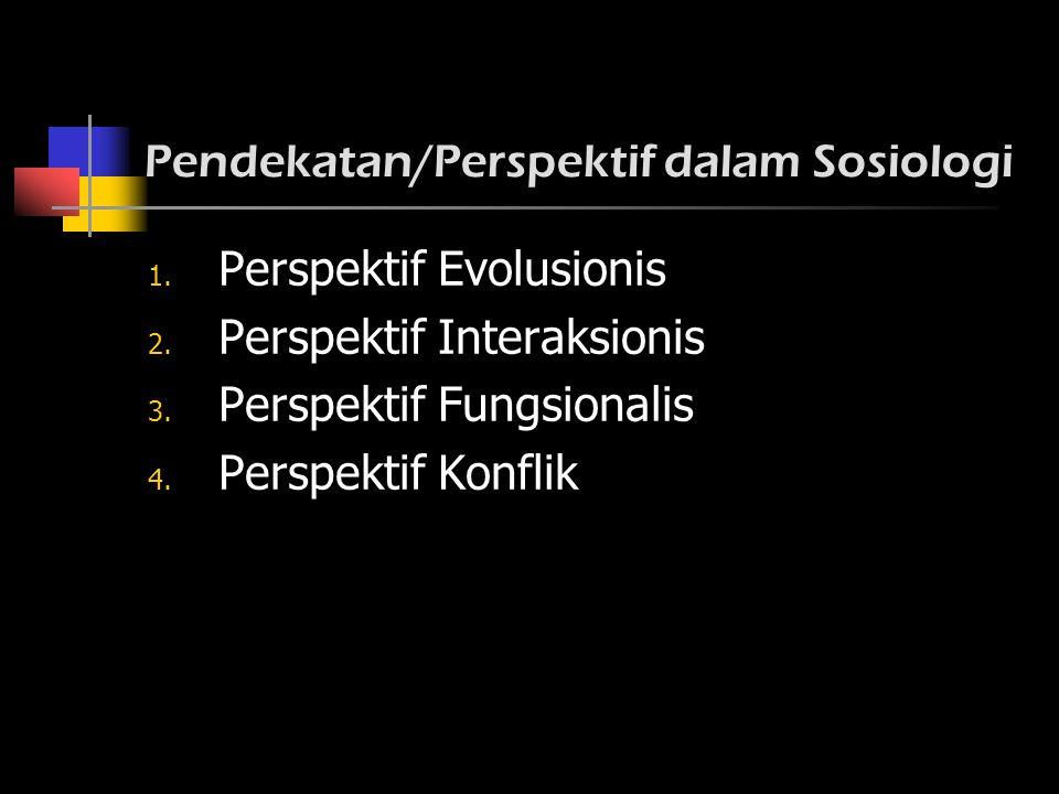 Pendekatan/Perspektif dalam Sosiologi 1. Perspektif Evolusionis 2. Perspektif Interaksionis 3. Perspektif Fungsionalis 4. Perspektif Konflik