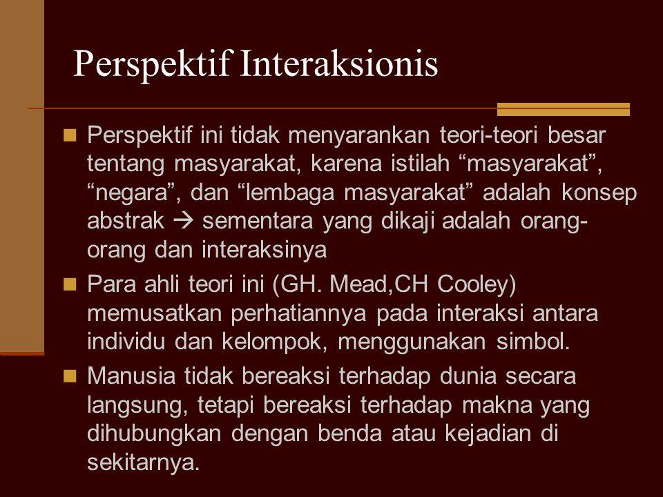"""Perspektif Interaksionis Perspektif ini tidak menyarankan teori-teori besar tentang masyarakat, karena istilah """"masyarakat"""", """"negara"""", dan """"lembaga ma"""
