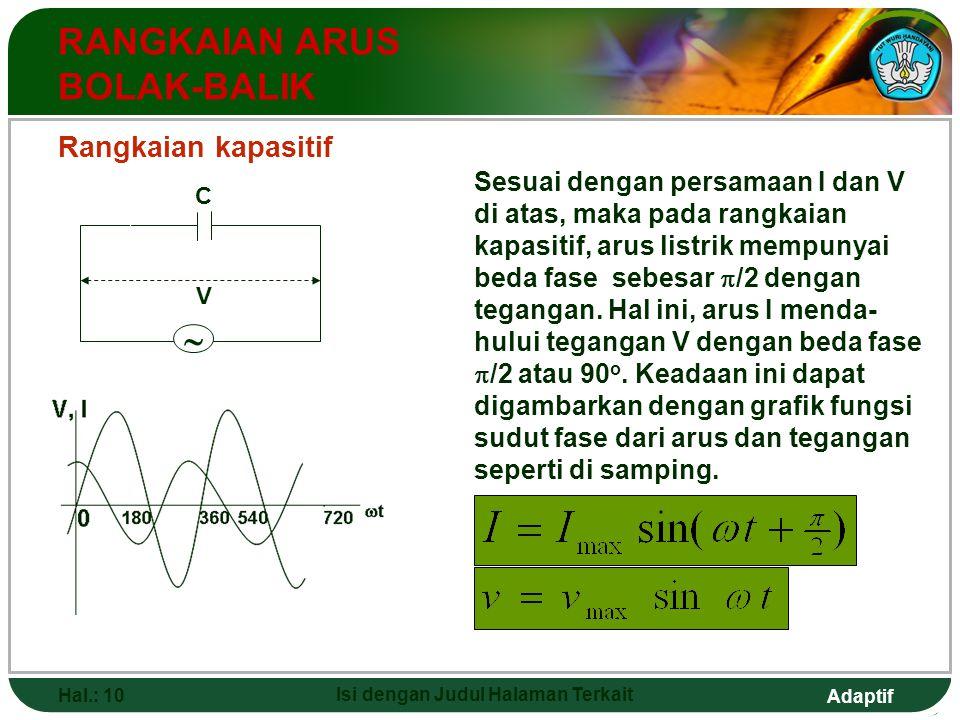 Adaptif Hal.: 10 Isi dengan Judul Halaman Terkait RANGKAIAN ARUS BOLAK-BALIK Rangkaian kapasitif  C V Sesuai dengan persamaan I dan V di atas, maka p