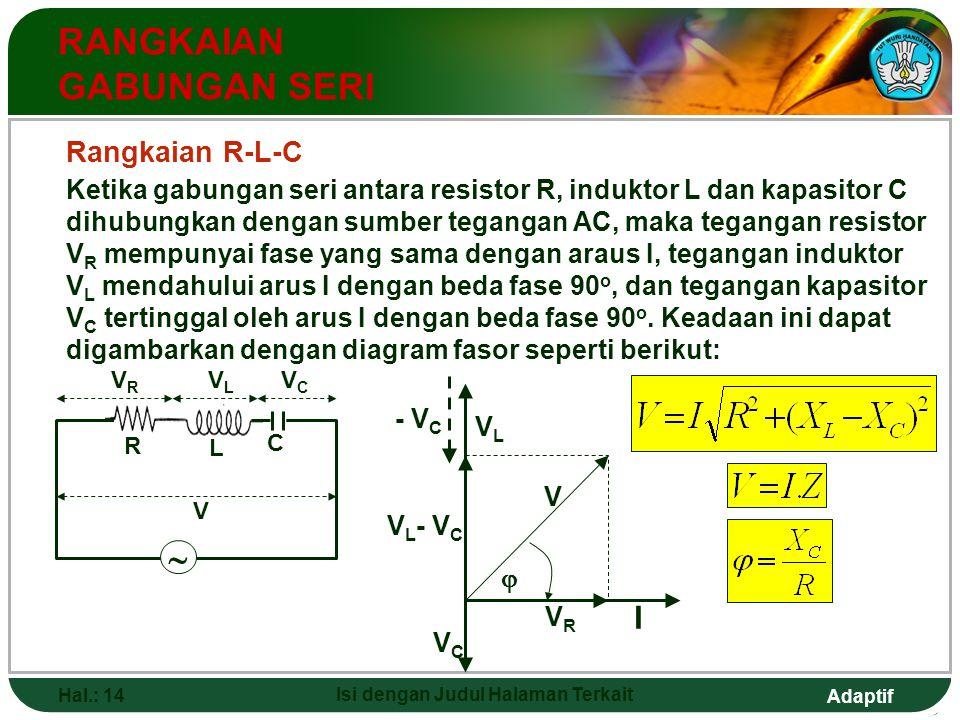 Adaptif Hal.: 14 Isi dengan Judul Halaman Terkait RANGKAIAN GABUNGAN SERI V L - V C VRVR V  I VCVC - V C VLVL  R L VRVR VLVL V C VCVC Rangkaian R-L-