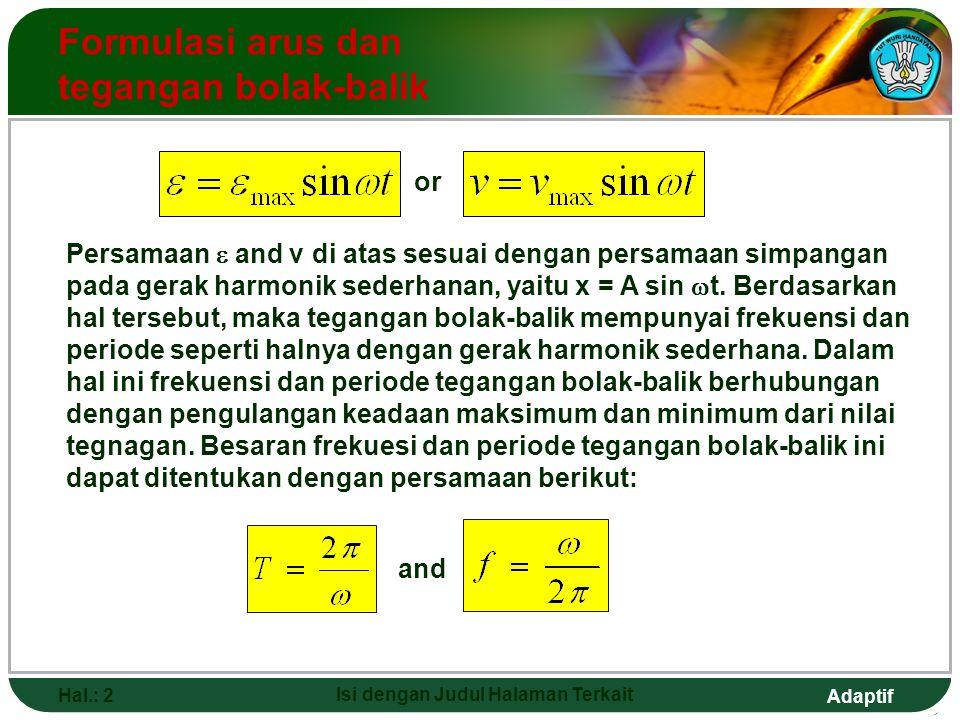 Adaptif Hal.: 2 Isi dengan Judul Halaman Terkait Formulasi arus dan tegangan bolak-balik Persamaan  and v di atas sesuai dengan persamaan simpangan p