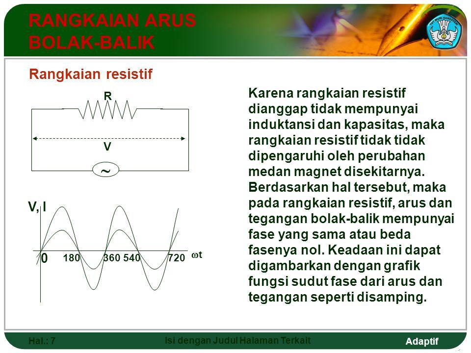 Adaptif Hal.: 7 Isi dengan Judul Halaman Terkait RANGKAIAN ARUS BOLAK-BALIK Rangkaian resistif V, I 0 180 360 540720 tt  R V Karena rangkaian resis