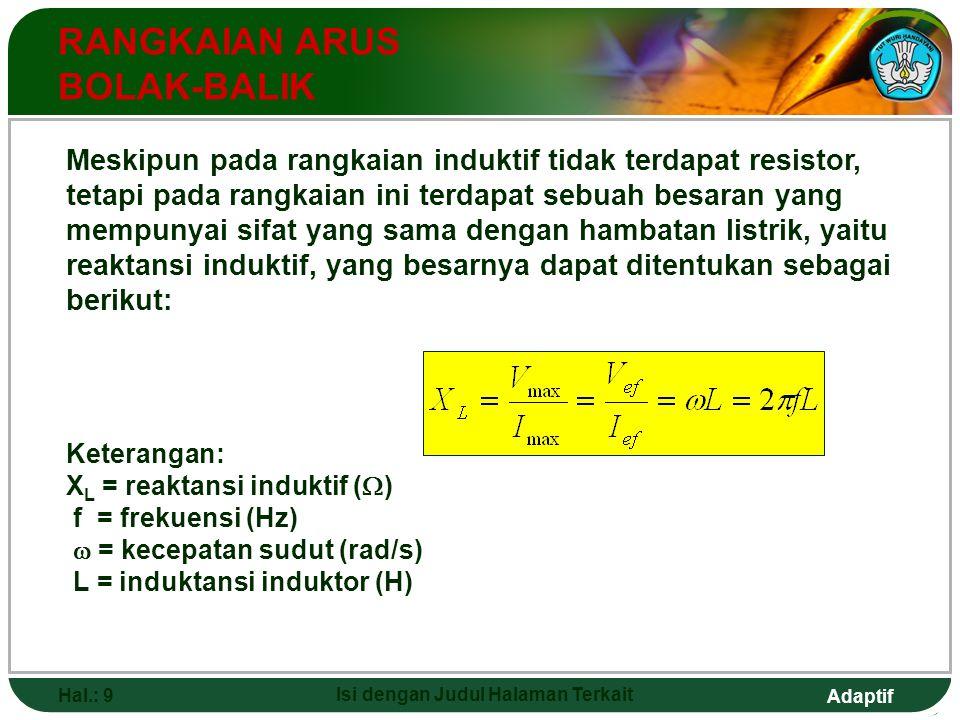 Adaptif Hal.: 9 Isi dengan Judul Halaman Terkait RANGKAIAN ARUS BOLAK-BALIK Meskipun pada rangkaian induktif tidak terdapat resistor, tetapi pada rang