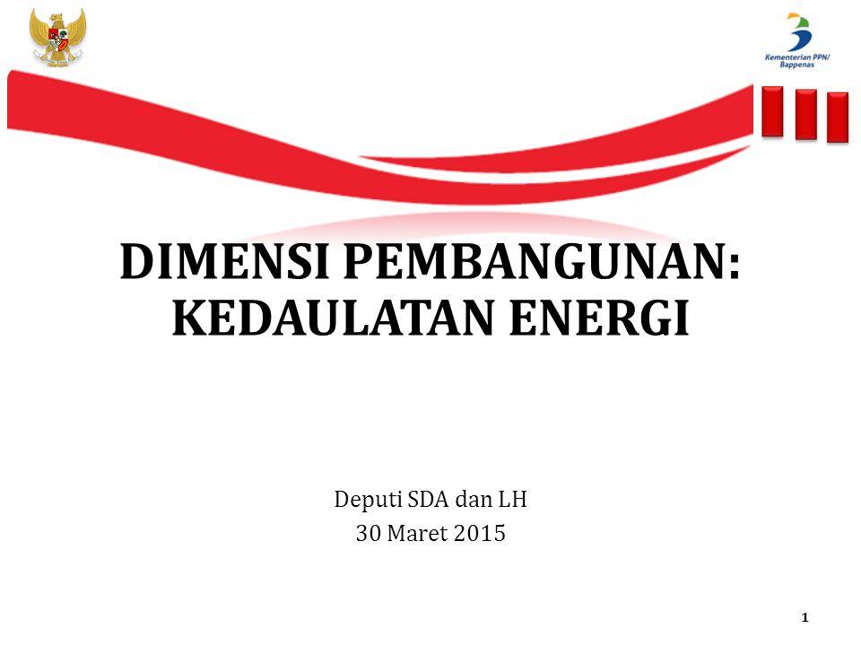 DIMENSI PEMBANGUNAN: KEDAULATAN ENERGI Deputi SDA dan LH 30 Maret 2015 1