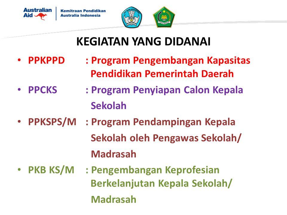 PPKPPD: Program Pengembangan Kapasitas Pendidikan Pemerintah Daerah PPCKS: Program Penyiapan Calon Kepala Sekolah PPKSPS/M: Program Pendampingan Kepal