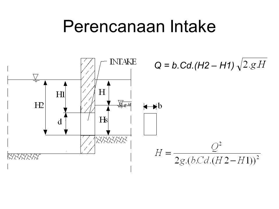 Perencanaan Intake Q = b.Cd.(H2 – H1) Diketahui Q = 500 lt/dt; H 2 =2 m; d=0,5 m; tentukan kedalaman aliran di saluran pembawa.