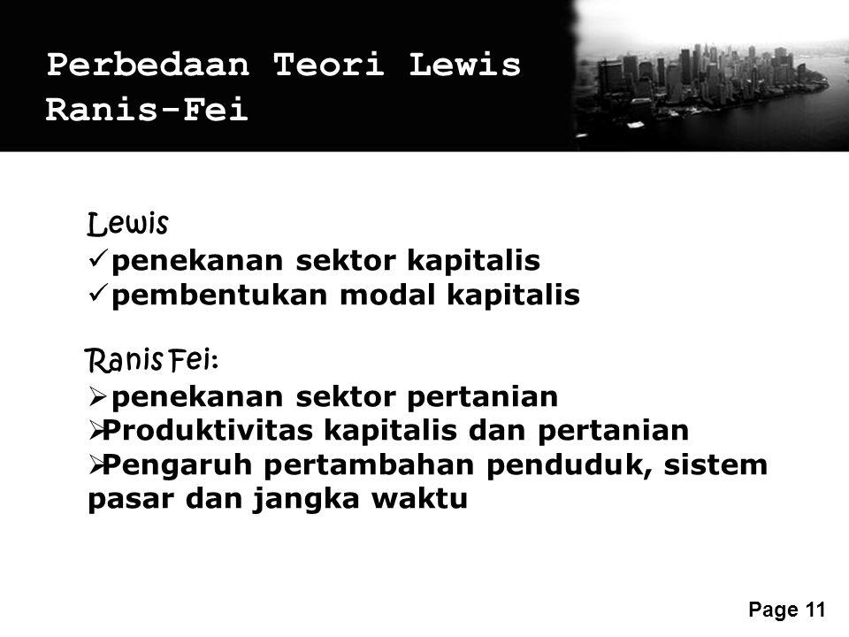 Free Powerpoint Templates Page 11 Perbedaan Teori Lewis Ranis-Fei Lewis penekanan sektor kapitalis pembentukan modal kapitalis Ranis Fei:  penekanan