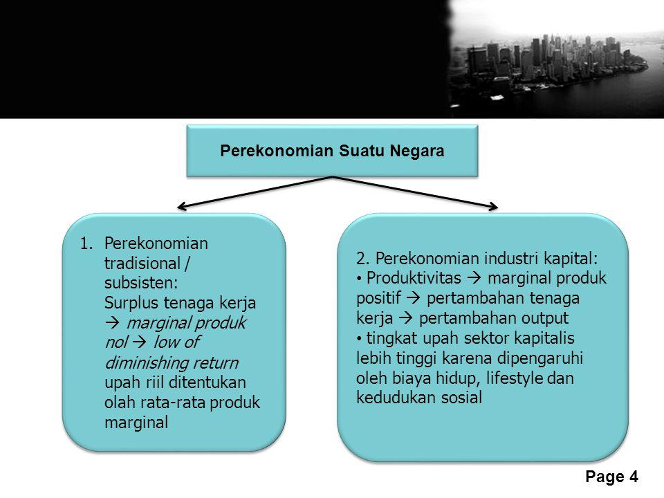 Free Powerpoint Templates Page 4 Perekonomian Suatu Negara 1.Perekonomian tradisional / subsisten: Surplus tenaga kerja  marginal produk nol  low of