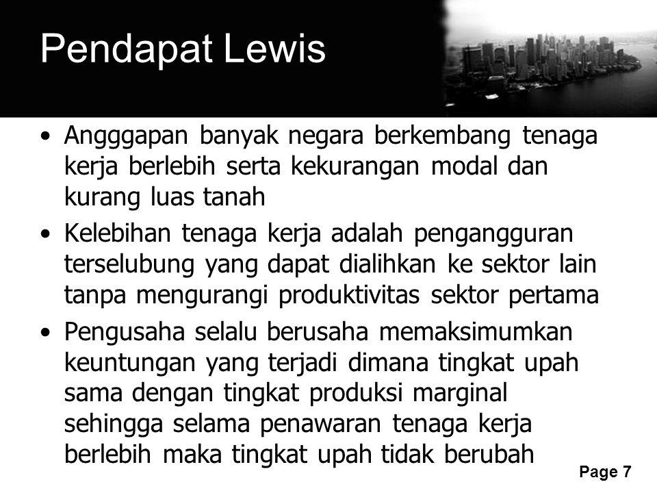 Free Powerpoint Templates Page 7 Pendapat Lewis Angggapan banyak negara berkembang tenaga kerja berlebih serta kekurangan modal dan kurang luas tanah