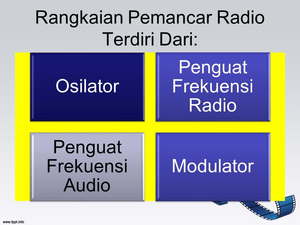 Rangkaian Pemancar Radio Terdiri Dari: Osilator Penguat Frekuensi Radio Penguat Frekuensi Audio Modulator