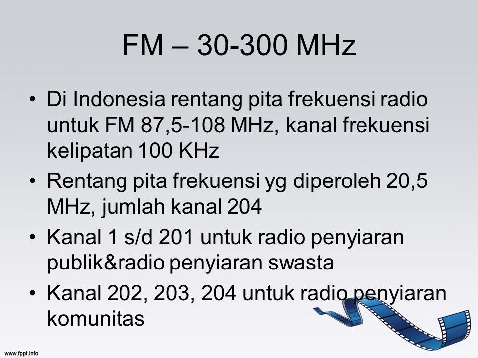FM – 30-300 MHz Di Indonesia rentang pita frekuensi radio untuk FM 87,5-108 MHz, kanal frekuensi kelipatan 100 KHz Rentang pita frekuensi yg diperoleh