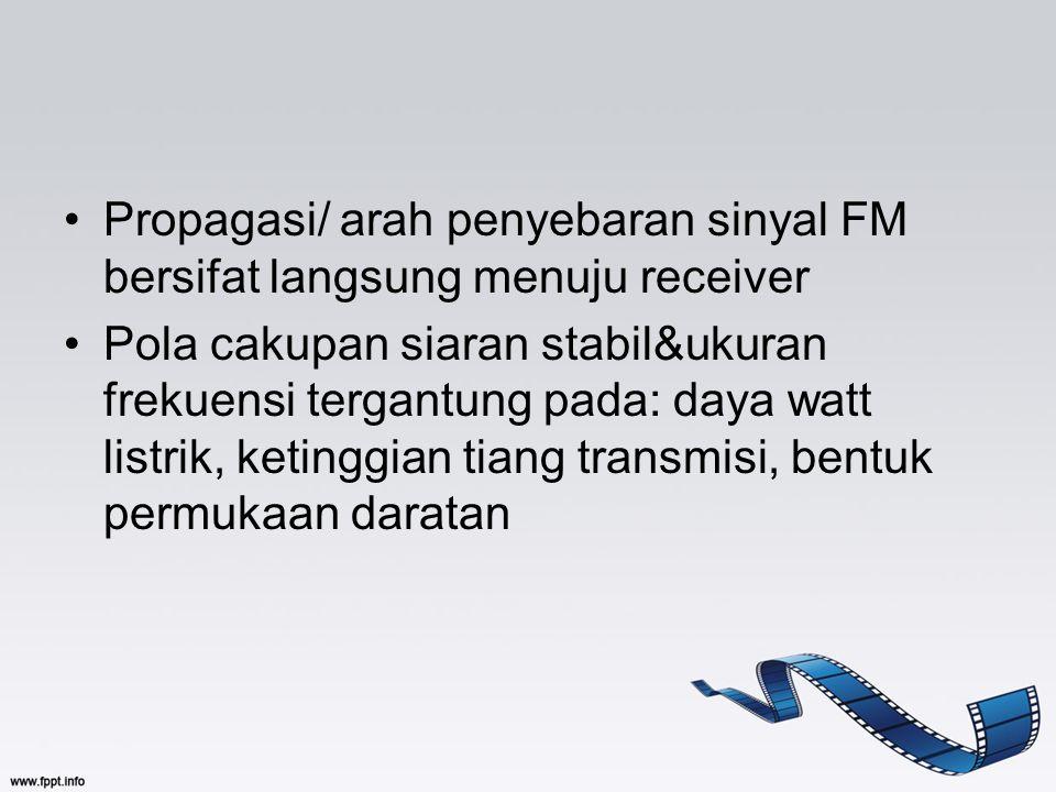 Propagasi/ arah penyebaran sinyal FM bersifat langsung menuju receiver Pola cakupan siaran stabil&ukuran frekuensi tergantung pada: daya watt listrik,