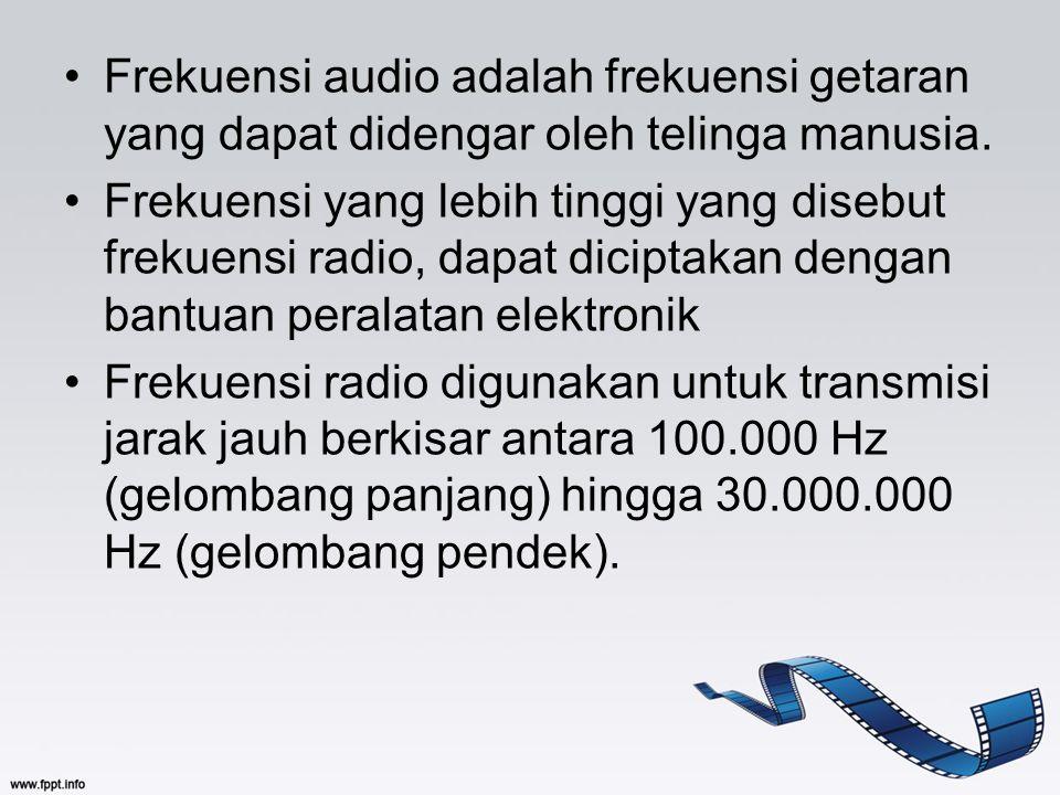Frekuensi audio adalah frekuensi getaran yang dapat didengar oleh telinga manusia. Frekuensi yang lebih tinggi yang disebut frekuensi radio, dapat dic