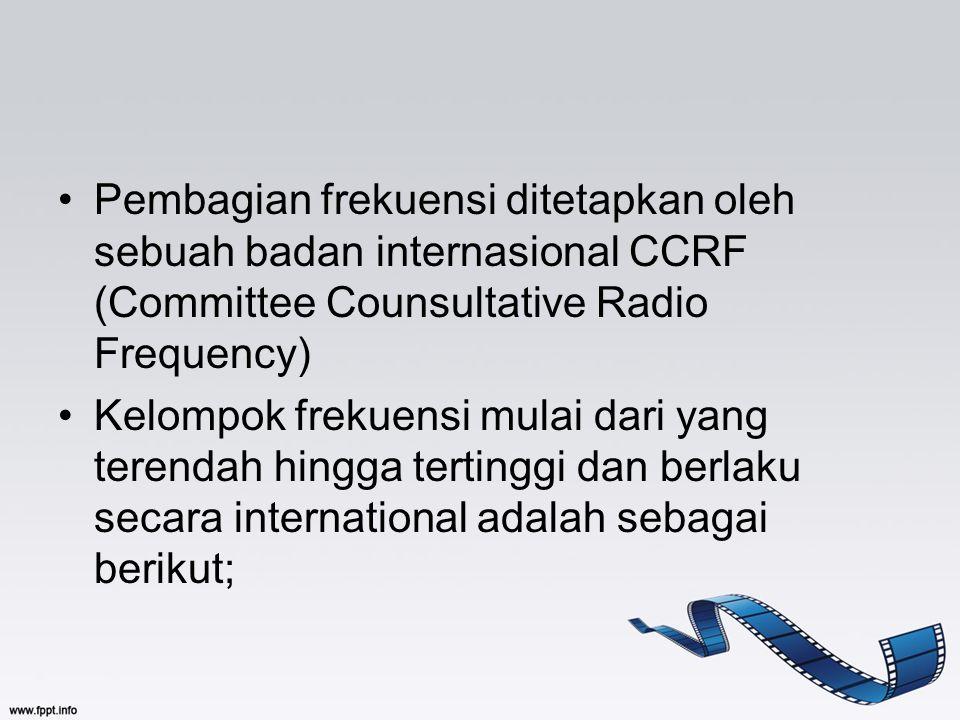 Pembagian frekuensi ditetapkan oleh sebuah badan internasional CCRF (Committee Counsultative Radio Frequency) Kelompok frekuensi mulai dari yang teren