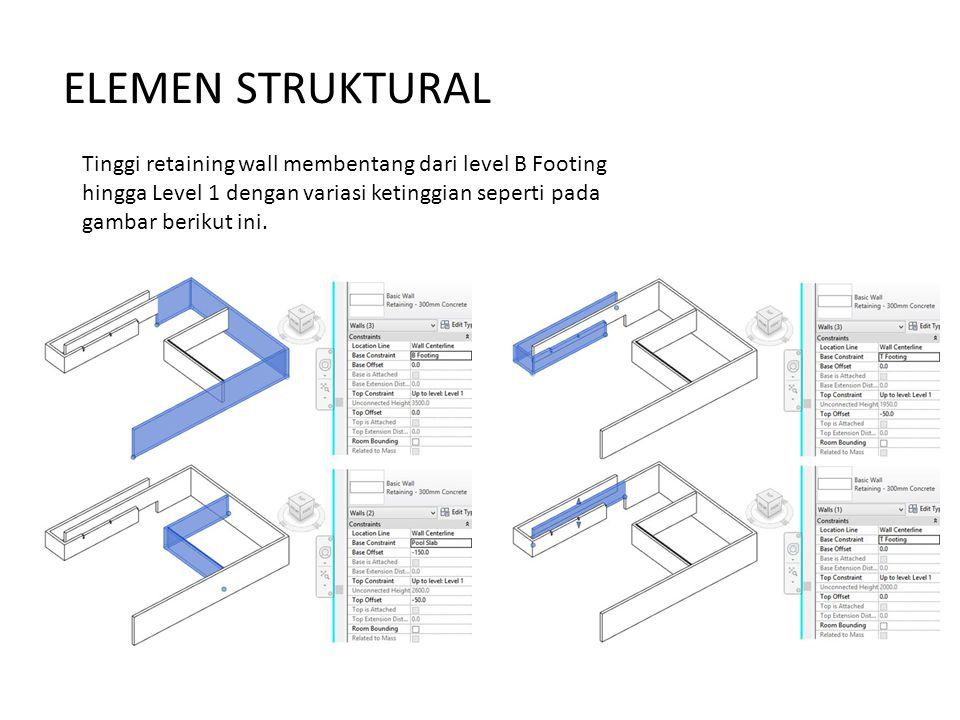 Tinggi retaining wall membentang dari level B Footing hingga Level 1 dengan variasi ketinggian seperti pada gambar berikut ini.