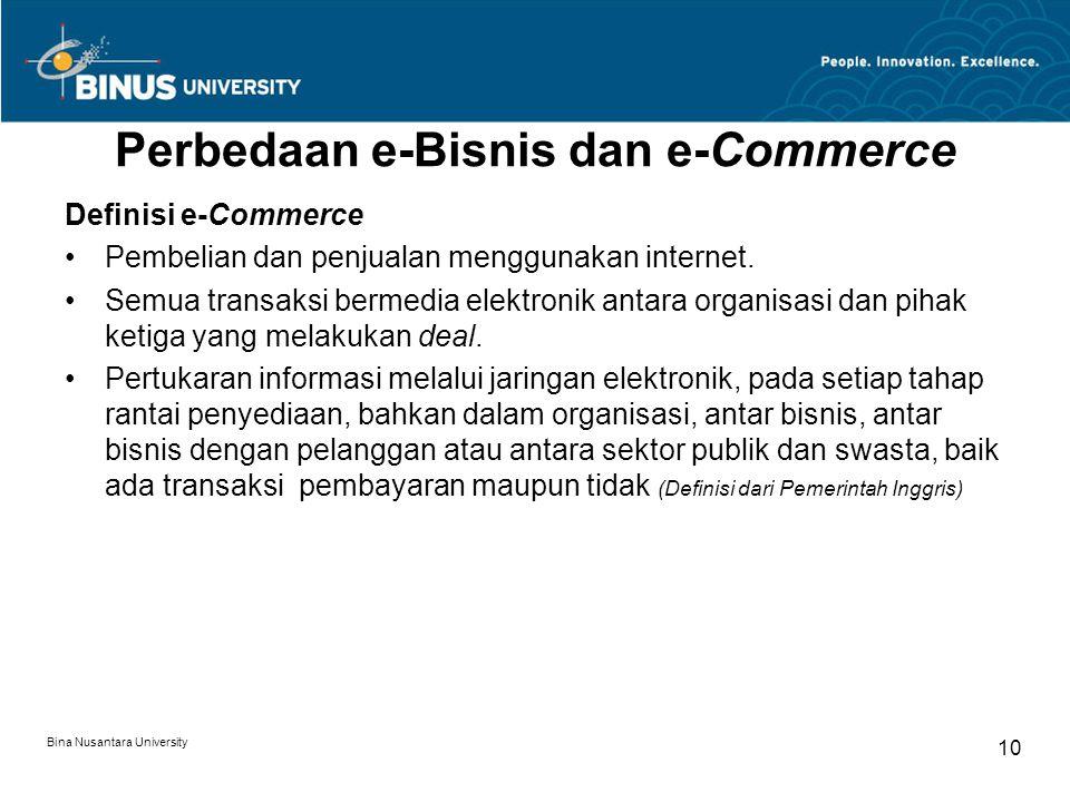 Bina Nusantara University 10 Perbedaan e-Bisnis dan e-Commerce Definisi e-Commerce Pembelian dan penjualan menggunakan internet. Semua transaksi berme