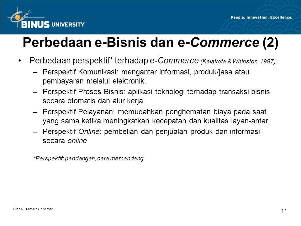 Bina Nusantara University 11 Perbedaan e-Bisnis dan e-Commerce (2) Perbedaan perspektif* terhadap e-Commerce (Kalakota & Whinston, 1997) : –Perspektif
