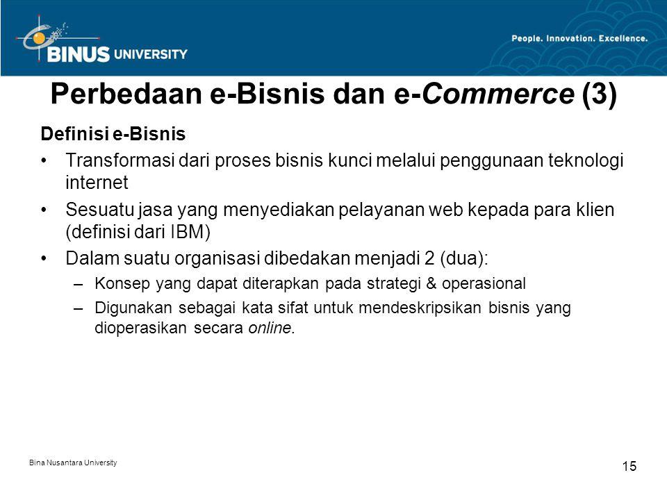 Bina Nusantara University 15 Perbedaan e-Bisnis dan e-Commerce (3) Definisi e-Bisnis Transformasi dari proses bisnis kunci melalui penggunaan teknolog