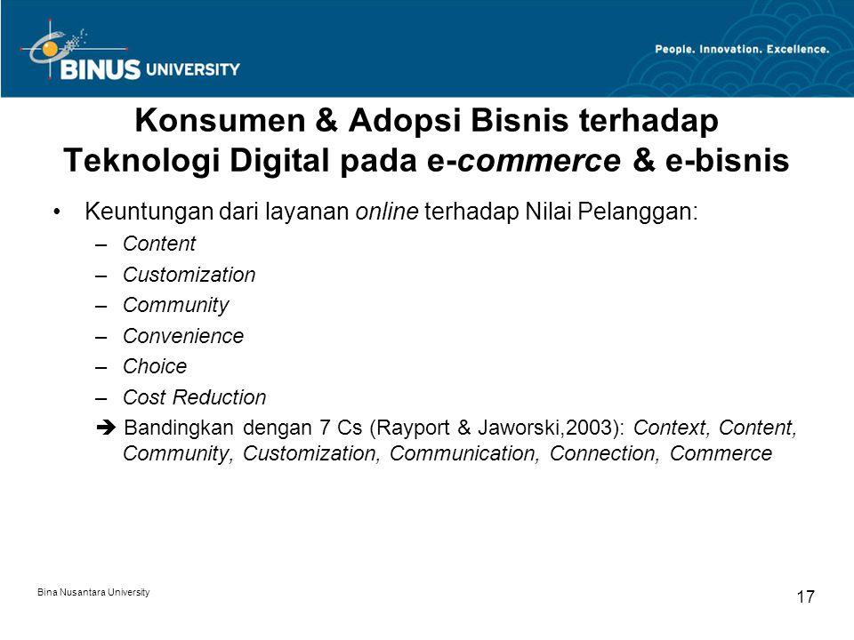 Bina Nusantara University 17 Konsumen & Adopsi Bisnis terhadap Teknologi Digital pada e-commerce & e-bisnis Keuntungan dari layanan online terhadap Ni