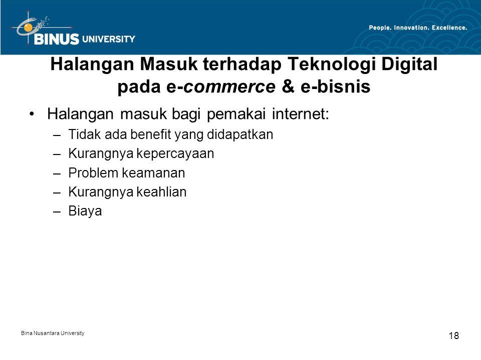 Bina Nusantara University 18 Halangan Masuk terhadap Teknologi Digital pada e-commerce & e-bisnis Halangan masuk bagi pemakai internet: –Tidak ada ben