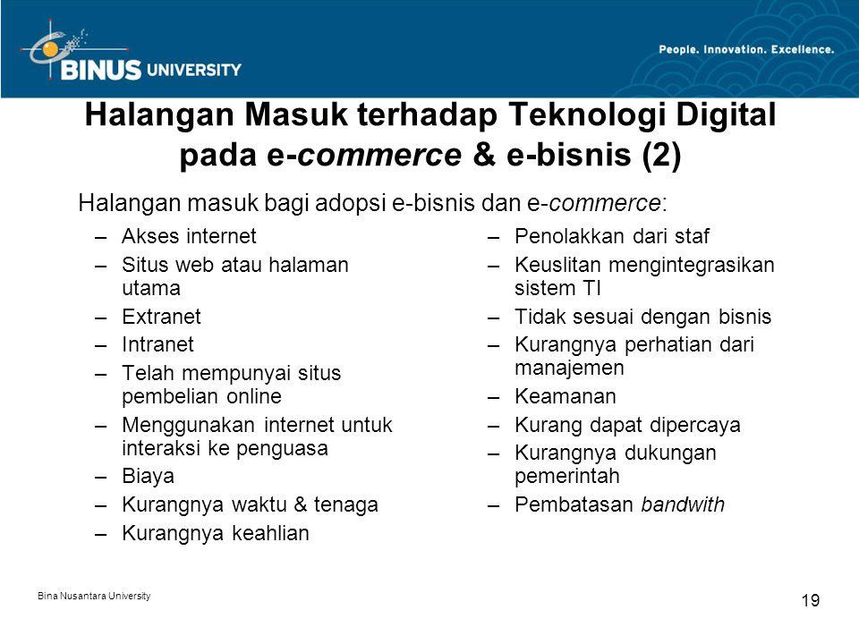 Bina Nusantara University 19 Halangan Masuk terhadap Teknologi Digital pada e-commerce & e-bisnis (2) –Akses internet –Situs web atau halaman utama –E